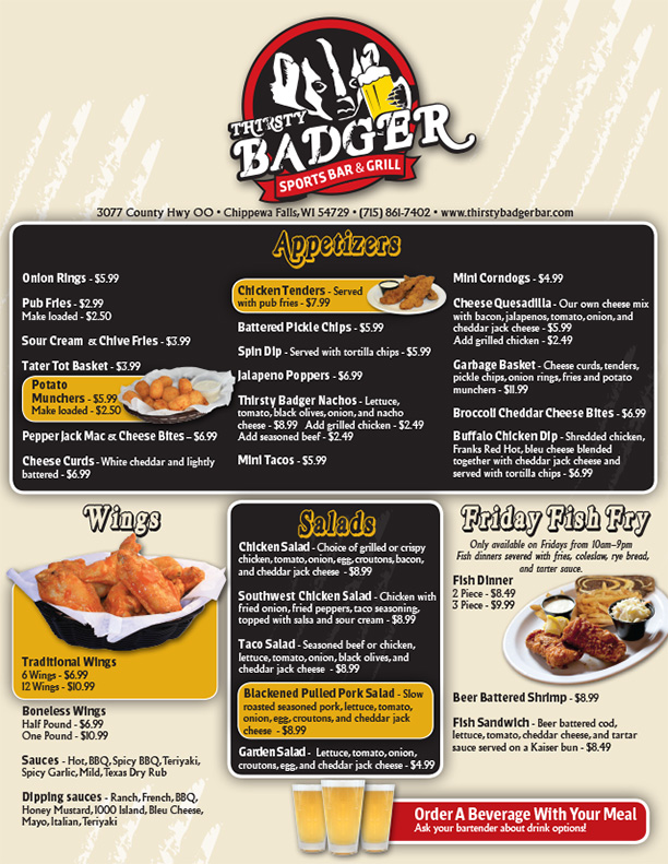 Thirsty Badger Menu