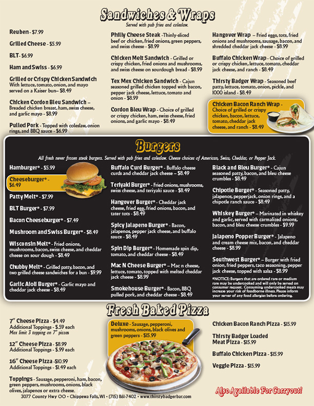 Thirsty Badger Menu Page 2